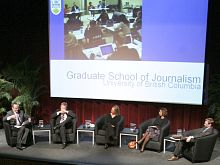 Panel included (l to r) Global's Kevin Newman, Tony Burman (Al Jazeera), Sarah Carter (CBS), Ayesha Bhatty (BBC), and Chris Tenove (UBC PhD student)